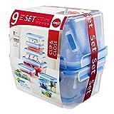 Emsa Clip & Close 515481 Frischhaltedosen, transparent/blau, 9er Pack