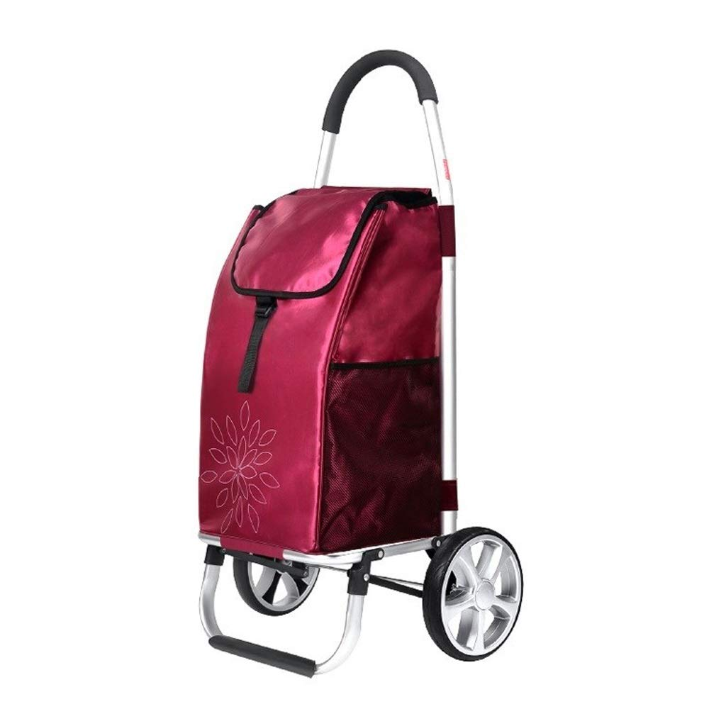 Lxrzls Portable Small Cart - Old People Shopping Trolley - Travel - Large Capacity - Two Rounds - Foldable Luggage Grocery Cart - Wine Red