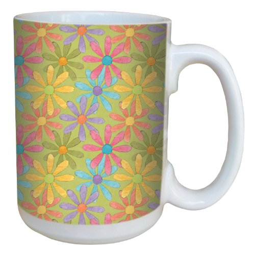 Tree-Free Greetings 79258 Funky Daisies by Debbie Mumm Ceramic Mug with Full-Sized Handle, 15-Ounce