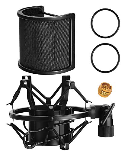 (AT2020 Shock Mount with Pop Filter, PEMOTech Universal Shock Mount for 46mm-53mm Diameter Mic compatible for AT2020 Anti-Vibration Suspension Microphone Shock Mount Bonus Screw Adapter)