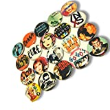 "Custom & Novelty {1"" Inch} 20 Bulk Pack, Mid-Size Button Pin-Back Badges for Unique Clothing Accents, Made of Rust-Proof Metal w/ 1980s Punk Rock Singers Different Set Band Artists Style [Multicolor]"