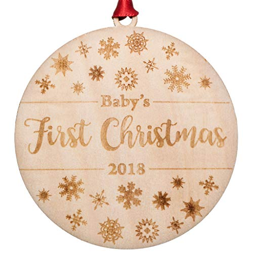 Baby's First Christmas Ornament 2018 | Engraved Flat Wood, Perfect Christmas Gift For Family With New Baby, Unique Gift For Christmas For Newborn, Mom, Dad, Perfect As Stocking Stuffer Or Baby Shower