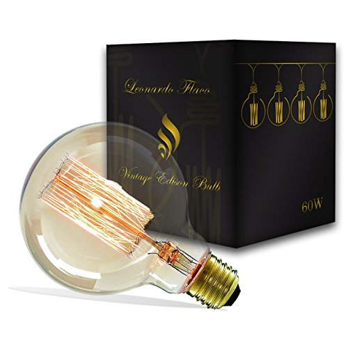 Vintage Edison Light Bulb G95 40W Dimmable Warm Globe Round - Extra Durable