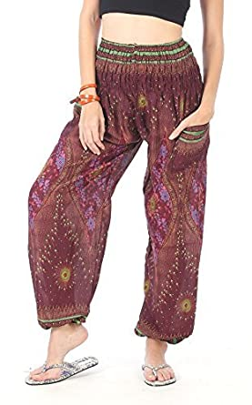 8415a0a51738f CandyHusky Elastic Waist Peacock Feather Baggy Hippie Boho Yoga Harem Pants  (Peacock Eye Dark Purple): Amazon.in: Clothing & Accessories
