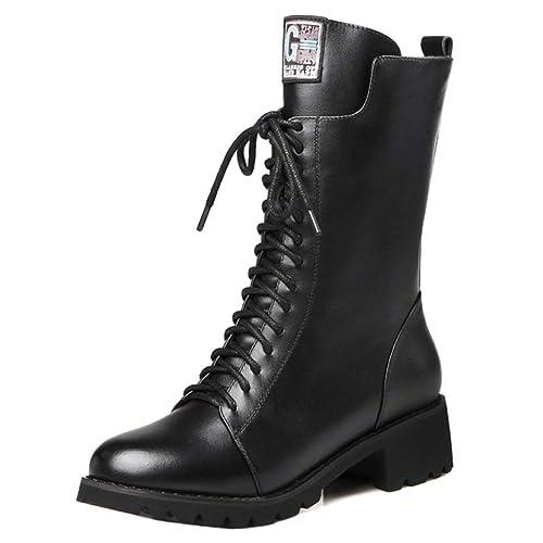 Plataforma para Mujer Botas Martin Botas para Mujer Cuero Genuino Casual con Cordones Zip Botines Negros Espesar Botines: Amazon.es: Zapatos y complementos