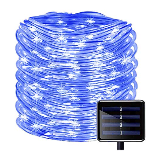 Solar Rope Lights Outdoor, SOCO 33ft 100LED Outdoor Christmas Lighting Waterproof Solar Powered Copper Wire Rope String Lights Decoration for Outdoor Indoor Garden Garden Patio Parties Halloween(Blue)