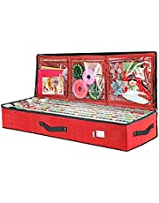 "Primode Wrap Storage Bag for 40 Inch Wrapping Paper, Ribbon and Bows Organizer, 41""x 14""x 6 Wrap Storage Box Container Durable 600D Oxford Material Underbed Storage (Red)"