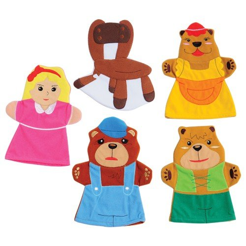 Constructive Playthings SVL-463 Goldilocks & 3 Bears Storytelling Hand Puppets, Grade: Kindergarten to 3, Age: 9