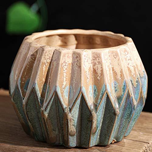 yozhohoo Ceramic Shabby Chic Ceramic Diamond Flower Planter Decorative Bouquet Holder, Succulent Container, Round Orchid Pots (4 ()