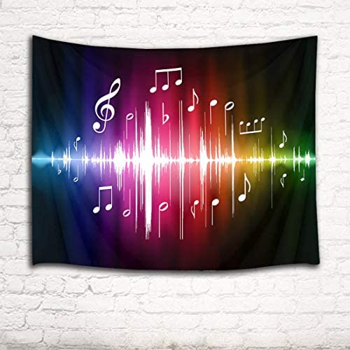 HVEST Music Tapestry Jumping Musical Notes Wall Hanging Hippie Wall Tapestries for Bedroom Living Room Dorm Party Wall Decor,92.5Wx70.9H inches