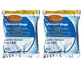 Eureka F & G upright vacuum bags (18pk). Fits most Sanitaire commercial upright vacuums and some Eureka Boss models. Bags are made by EnviroCare. The micro Filtration traps 99.7% particles and allergens. For best results change every 1-3 months.