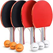 Abco Tech Ping Pong Paddle & Table Tennis Set - Pack of 4 Premium Rackets and 6 Table Tennis Balls - Soft