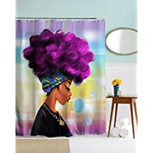 Get Orange Traditional African Black Women With Purple Hair Afro Hairstyle Watercolor Portrait Picture Print Waterproof Mildew Resistant Fabric Polyester Shower Curtain 72X72 Inch