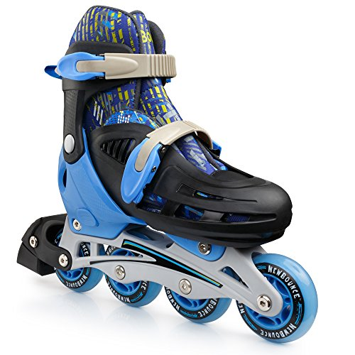 (New Bounce Premium Roller Skate, 4 Wheel Inline Speed Skate for Kids| Outdoor Skating for Beginners & Advanced | 4 Sizes | Blue (Blue, Medium))