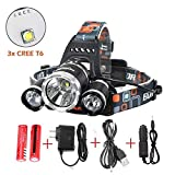 Best Led Headlamp Flashlight 10000 Lumens,Super Bright Headlight,Waterproof Hard Hat Light,3 Light 4 Modes, Improved LED with Rechargeable Batteries for Camping Biking Hunting Fishing Outdoor Sports