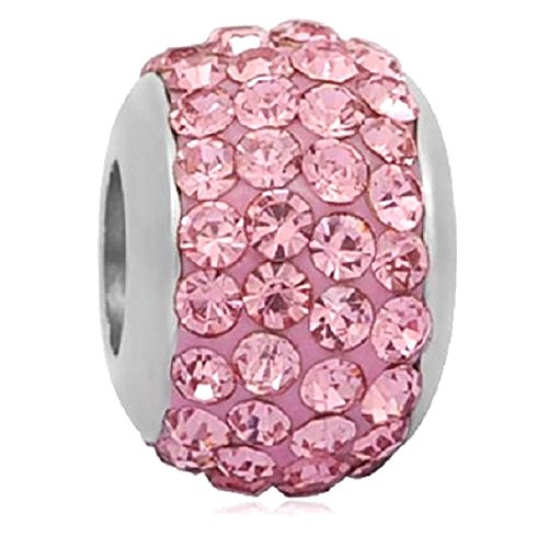 Pro Jewelry Stainless Steel Crystal Spacer Bead for Bracelets (Light Pink)
