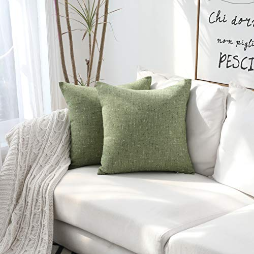 Kevin Textile Decorative Lined Linen Pillow Cover Euro Throw Pillow Case Sham Toss Cushion Covers for Couch, 2 Pack, 18x18 inches, Avocado Green ()
