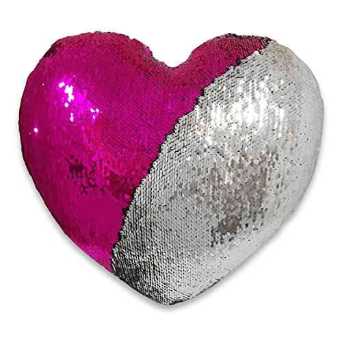 Heart shaped mermaid pillow, Christmas present, birthday present, one or two Reversible Sequin color decorative, 13''×15'' (Heart-Shaped, silver and rose)