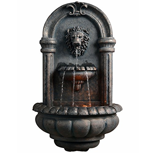 Peaktop Outdoor Royal Lion Head Wallfall Fountain W/LED Light by Peaktop