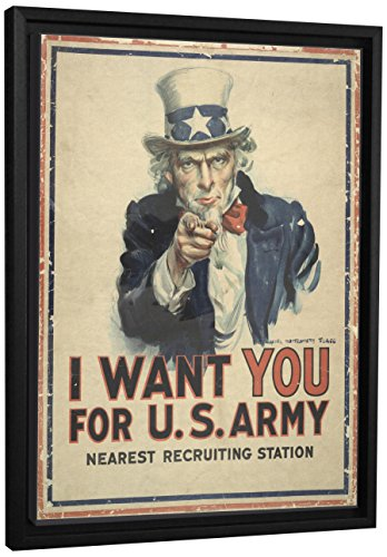 Vintage Uncle Sam - JP London FCNV2291 Framed Gallery Wrap Heavyweight Uncle Sam I Want You Vintage Army Poster Canvas Wall Art, 26.375