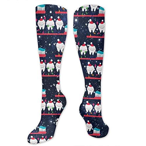 Dentist Christmas Tooth Pattern Athletic Sport Casual Dress Tube Socks]()