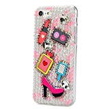 STENES iPhone 8 Plus Case - 3D Handmade Luxury Series Crystal Girls Cosmetic Mirror High Heel Sparkle Rhinestone Cover Bling Case for iPhone 7 Plus/iPhone 8 Plus Retro Bows Dust Plug - Pink