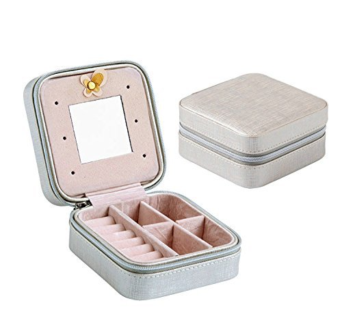 Yiluana Portable Jewelry Case Travel Earring Ring Necklace Accesories Organizer Box with Zipper (Silver)