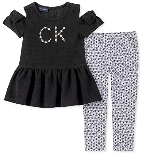 Calvin Klein Girls' Little 2 Pieces Legging Set Pants, Black/Print, 5