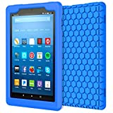 MoKo Case for All-New Amazon Fire HD 8 Tablet (7th/8th Generation, 2017/2018 Release) - [Honey Comb Series] Light Weight Shock Proof Soft Silicone Back Cover [Kids Friendly] for Fire HD 8, Blue