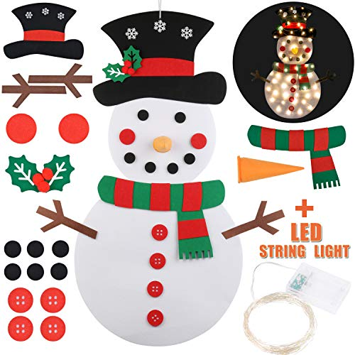 Funpa Felt Christmas Snowman 3.2ft DIY Christmas Snowman Games with 31PCS Ornaments Wall Decor for Kids Xmas Gifts Home Decoration (Snowman + String Light)