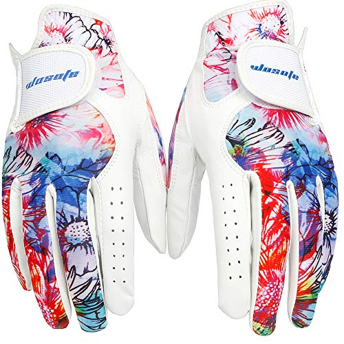 wosofe Golf Glove Women Pair Cool Leather Both Hand Summer Floral Colorful Breathable Sport Gloves