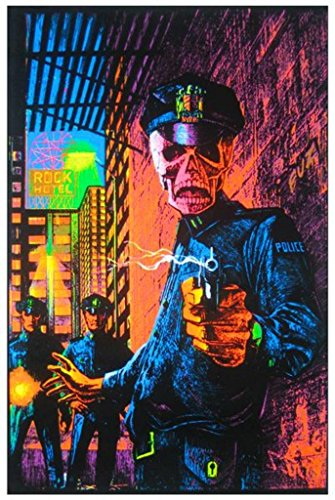 (Pyramid America in The Name of The Law Zombie Cops Retro Art Blacklight Poster 24x36 inch)