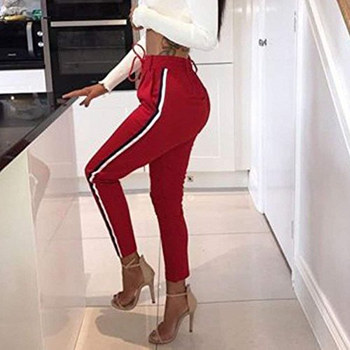 Trousers Pantaloni Jogging Tasche Della Con Pantaloni Strisce Moda Coulisse Fit Palestra Tuta Slim Con Di Lunga Eleganti Stoffa Rot Abbigliamento Verticali Ragazza Donna Pantaloni Pantaloni Chic vqwtqIxg