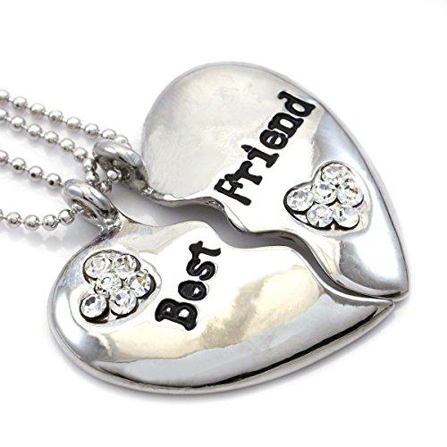 Soulbreezecollection Best Friends Forever BFF Heart Necklace Engraved Pendant for Women (Clear)