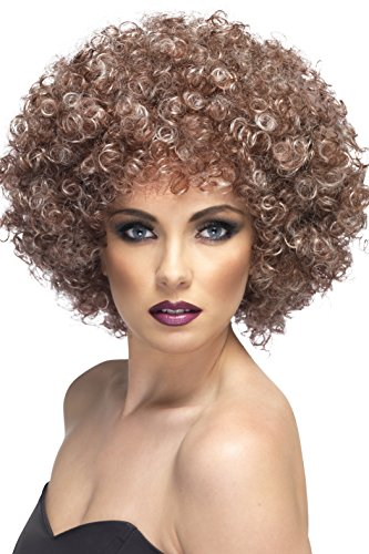 Smiffys Women's Dirty Blonde Afro Wig, Blonde and Brown, One Size, -