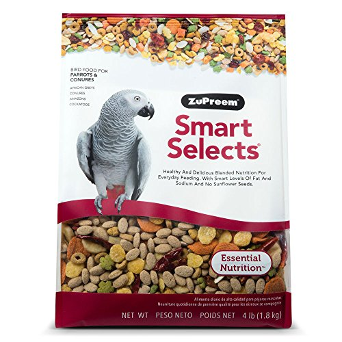 ZuPreem Smart Selects Everyday Feeding Bird Food for Parrots & Conures, 4 lb Bag | Made in USA for Caiques, African…