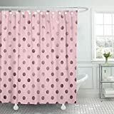 Staroden Shower Curtains 72 x 72 Inches Circle Bubblegum Pink Polka Dot Pattern Swiss Color Digital Waterproof Polyester Fabric Bath Decoration for Bathroom Curtain Sets with Hooks
