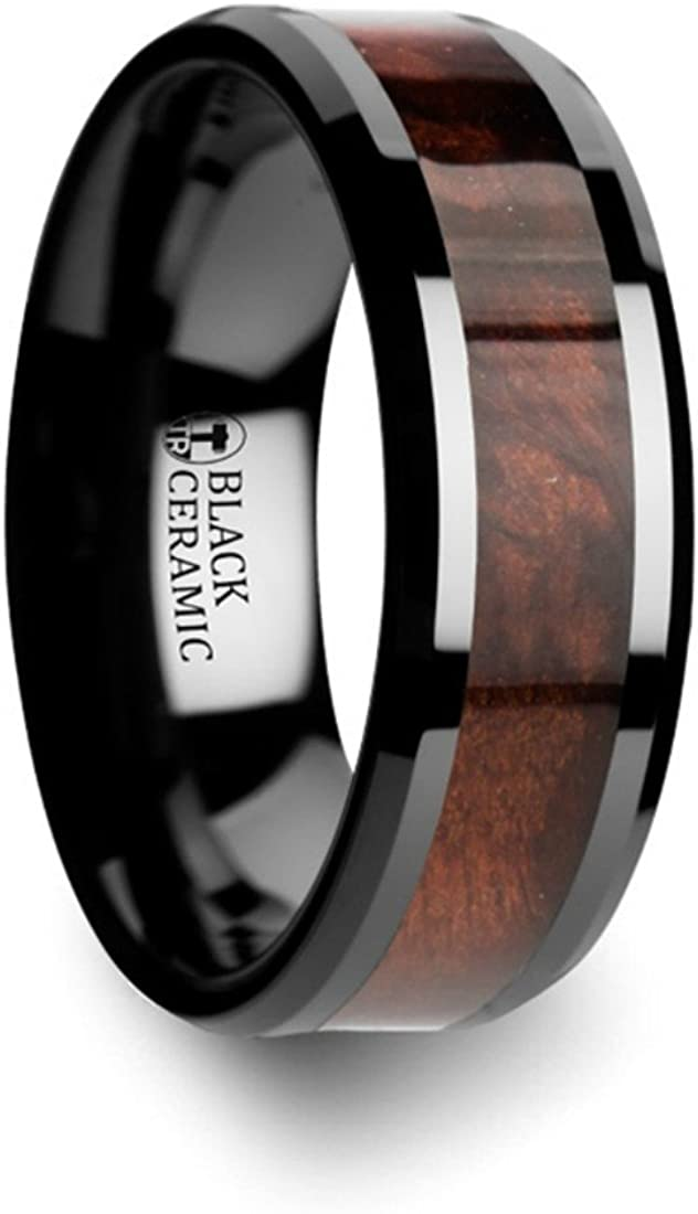 Thorsten Cerise Genuine Redwood Wood Inlaid Black Ceramic Ring with Beveled Edges 8mm Wide Wedding Band from Roy Rose Jewelry