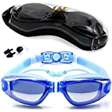 Swim Goggles, No Leaking Anti Fog UV Protection with Siamese earplugs for Adult Men Women Youth Kids
