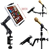 ChargerCity Universal Heavy Duty 4-WAY Multi Swivel Adjustable Joint Aluminum Alloy Pole/Bar Clamp Mount for Music Mic Microphone Stand Podium Orchestra with Enhanced Spring Loaded Tablet holder compatible w/all 7 7.7 8 8.9 9 10 11 12.2 inch Tablet Apple iPad 4 3 2 Air (Retina) Mini Samsung Galaxy Tab Note LG G Pad HD Microsoft Surface Pro Google Nexus Lenovo Yoga Ideapad ThinkPad Asus Vivotab Memopad Dell Venue (Holder is also 1/4-20 Tripod Compatible)