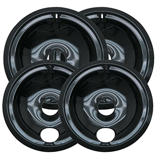 (Range Kleen P119204XN 4 Pack Style B Black Porcelain Drip Bowls 2 Small 6 Inch and 2 Large 8 Inch)