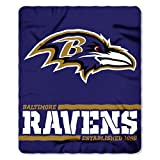 Northwest NFL Baltimore Ravens 50×60 Fleece Split Wide DesignBlanket, Team Colors, One Size