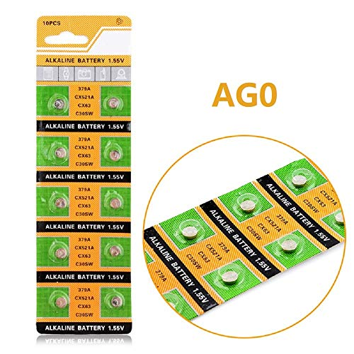 Cotchear 10pcs AG0 Coin Battery LR521 379 Button Cell Coin Alkaline Battery 1.5V for Watches Toys No Mercury