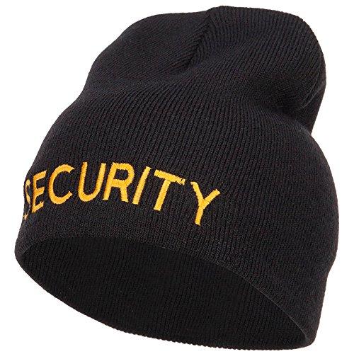 e4Hats.com Security Embroidered Short Beanie - Black OSFM