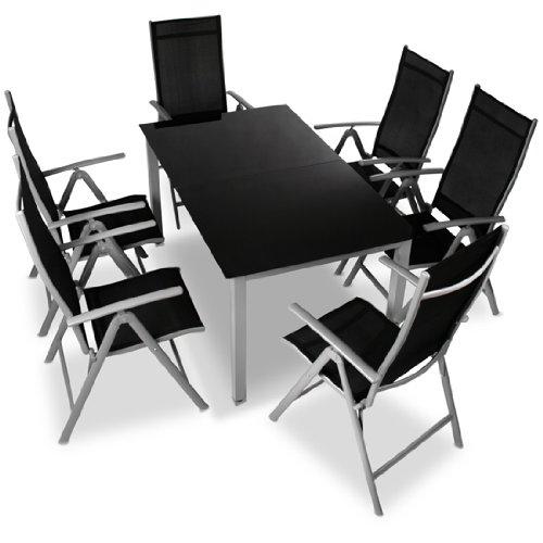 miadomodo alu sitzgarnitur gartengarnitur gartenm bel 7 teilig tisch und st hle aus aluminium. Black Bedroom Furniture Sets. Home Design Ideas