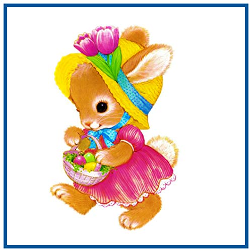 - Orenco Originals Contemporary Bunny in Pink Dress Basket Decorated Easter Eggs Counted Cross Stitch Pattern
