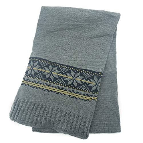 accsa Men Jaquard Snow Flake Pattern Rib Knit Scarf Gray Valentines Gifts ()