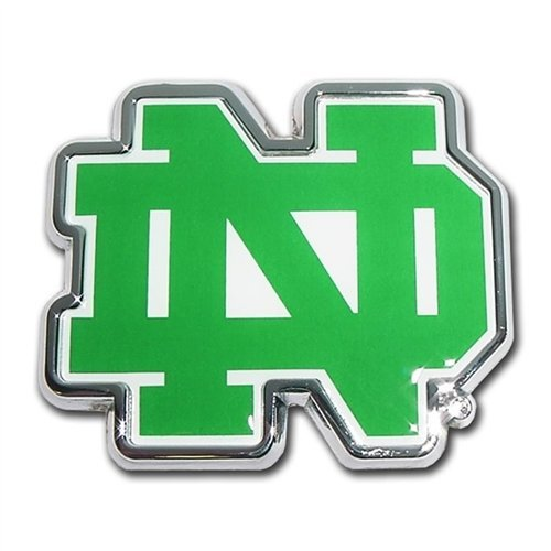 Notre Dame Fighting Irish Metal Auto Emblem with Colored ND Team Logo Notre Dame Emblem
