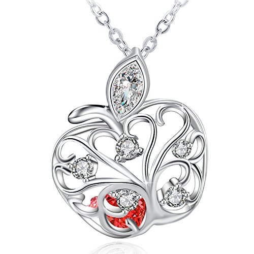 "J.Rosée Christmas Jewelry Gifts Packing 925 Sterling Silver Personalized Apple Pendant Necklace with 18"" Silver Box Chain"