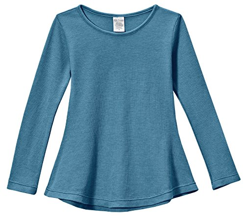 City Threads Big Girls' Thermal Long Sleeve Tunic Shirt Tee Dress for School Party Play, Teal, 14
